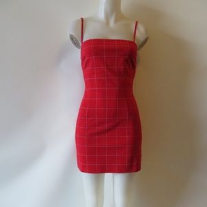WOMENS TIGER MIST RED PLAID SLEEVELESS DRESS M*